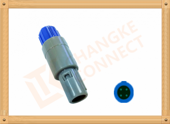 4 Pin Circular Connector Plastic Male Plug Gray Color Plastic Circular Connectors