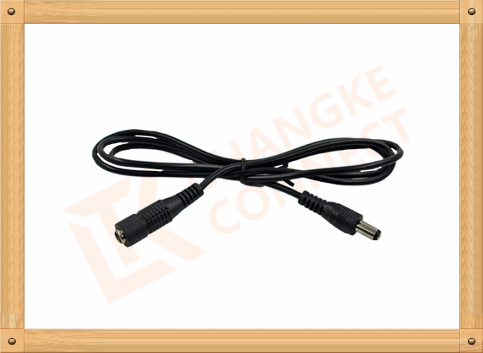 Gray Male to Female Custom Cable Assembly 100 cm DC 5.5X2.1 mm