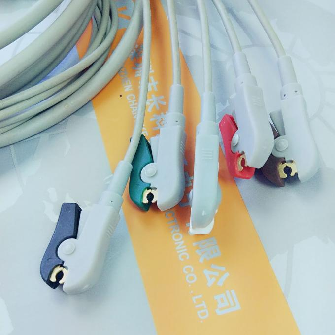 10 Pin 5 Leads Grabber IEC Datex Ohmeda Ecg Cable With Copper Conductor