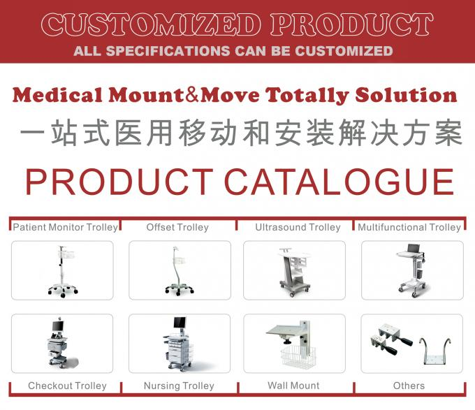 Patient Monitor Medical Trolley Cart , Medical Carts On Wheels With Drawers