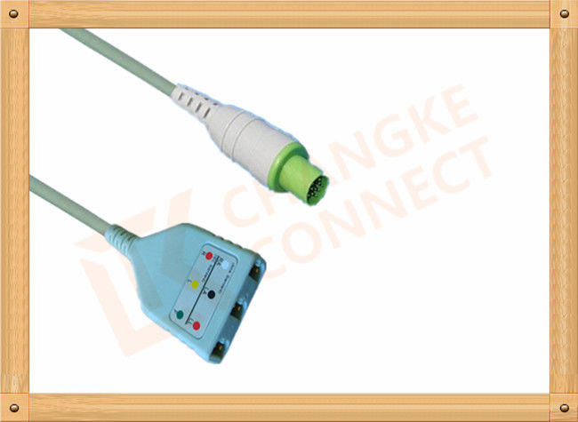 PVC Hellige Servomed 4 ECG Trunk Cable 10 Pin 3 Leads Non Toxic