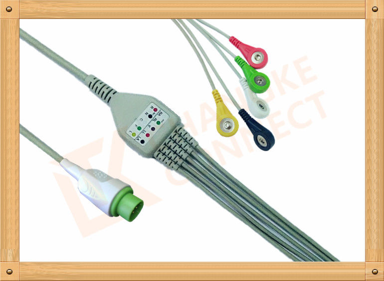 DLanet 50 LT 12 Pin  5 Lead Ecg Cable Snap IEC Flexibility And Durability