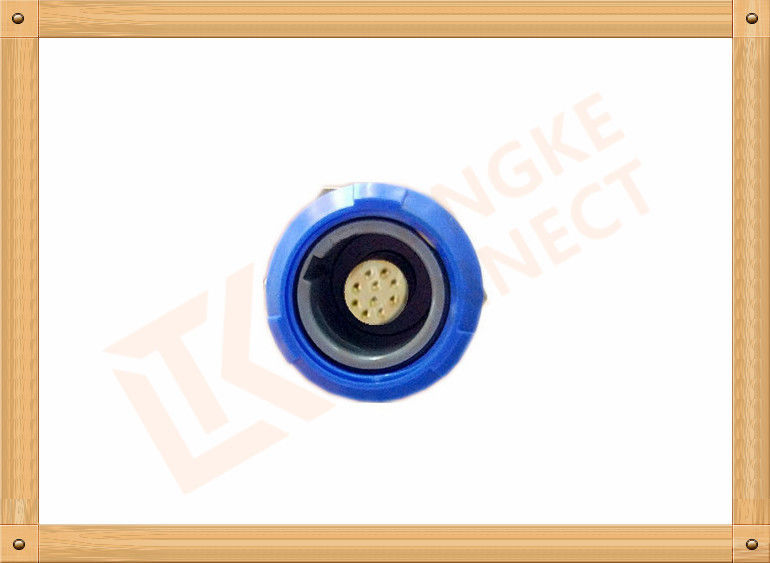 Blue Plastic Female Push Pull Circular Connectors / 10 Pin Circular Connector