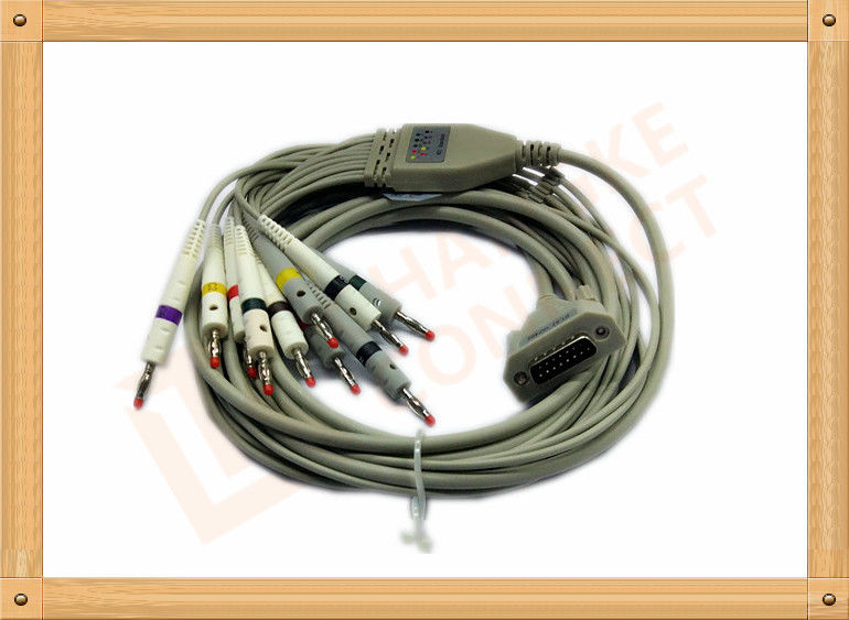 4.0 One Piece ECG Monitor Cable , Ecg Lead Cable 10 Lead Wires TPU Gray With Defibrillation
