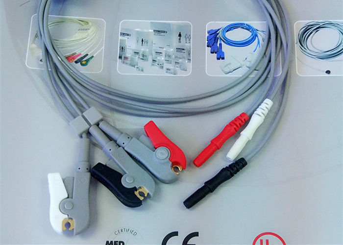 Din Style Safety 3 Lead Ecg Cable , Grabber AHA Ecg Lead Wires