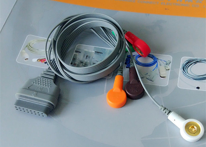Snap Electrode Ecg Accessories Holter Cable 5 Leads For Patient Use