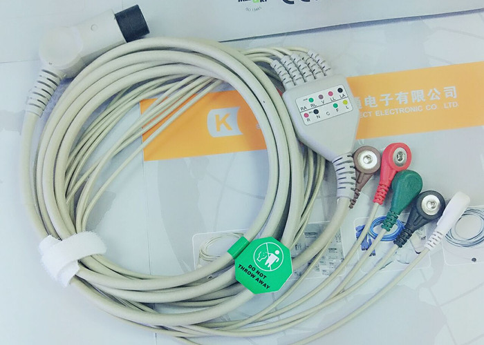 M&B 6 Pin Snap AHA ECG Patient Cable For Medical Equipment ...