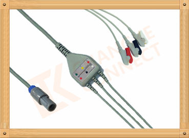 China Biosys ECG Patient Cable 6 Pin One Piece 3 Leads Grabber AHA factory