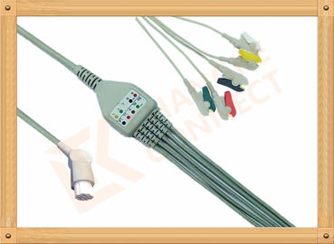 China 10 Pin 5 Leads Grabber IEC Datex Ohmeda Ecg Cable With Copper Conductor factory