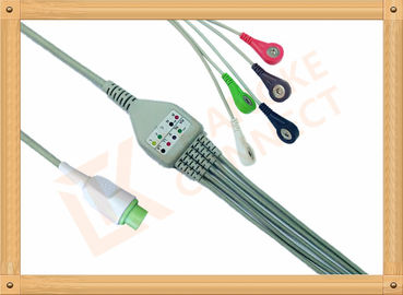 China Copper Kontron ECG Patient Cable 12 Pin 5 Leads Aluminum Foils Shielding factory