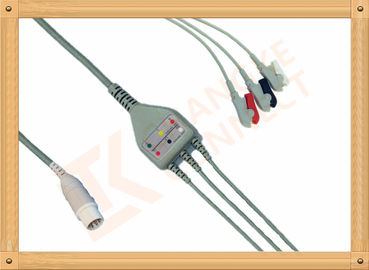 China Mennen ECG Patient Cable 10 Pin 3 Leads Grabber AHA Gray Color factory