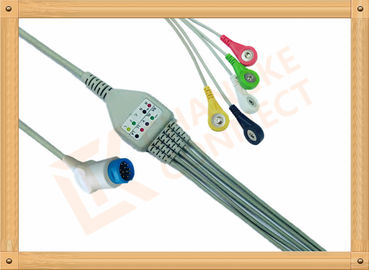 China Philips 12 Pin Snap IEC ECG Patient Cable 5 Leads Copper Conductor Material factory