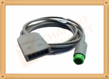 China Green 12 Pin ECG Trunk Cable 5 Leads Flexible With UL And Rohs Standard distributor
