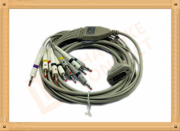 China 4.0 One Piece ECG Monitor Cable , Ecg Lead Cable 10 Lead Wires TPU Gray With Defibrillation factory