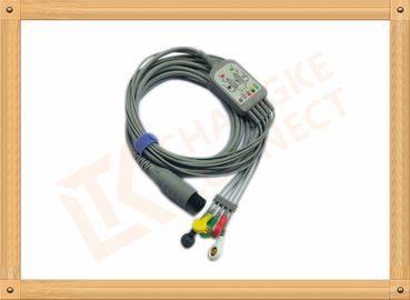 China 6 Pin One Piece Reusable ECG Patient Cable 5 Lead Defib , PVC Insulation distributor