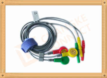 China Durable Din Style Safety 3 Lead Ecg Cable With PU Material , IEC Standard factory